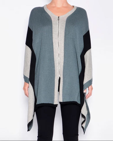 Powell Cashmere Cotton Zip Poncho | Petrol Mix