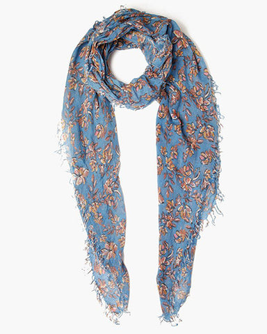 Painterly Floral Cashmere & Silk Scarf | Palace Blue