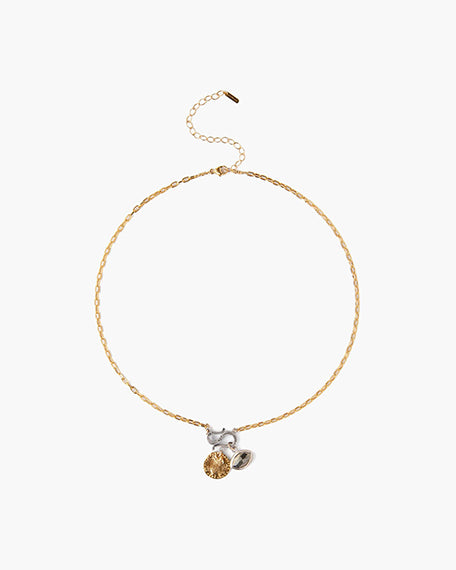 Short Gold Chain Charm Necklace | Pyrite