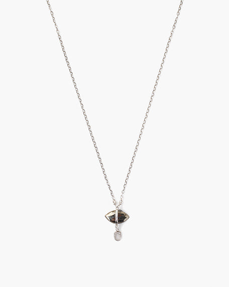 Evil Eye Sliced Diamond Necklace | Pyrite