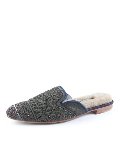 Queen Delfi Slipper | Grey & Purple
