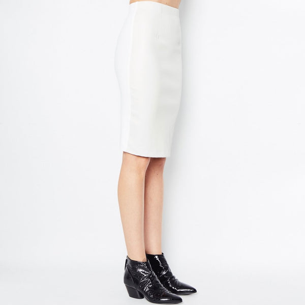 Reed Leather Pencil Skirt | White