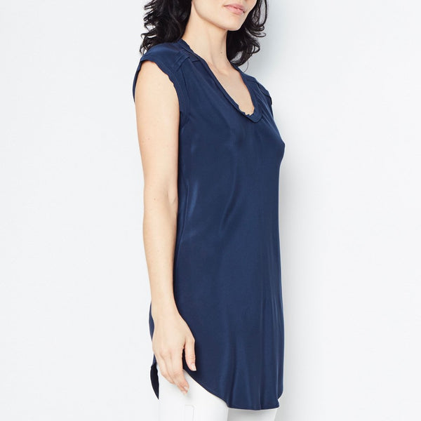 Rina Silk Tunic | Navy