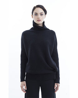 Wool & Cashmere Rib Turtleneck Pullover | Black
