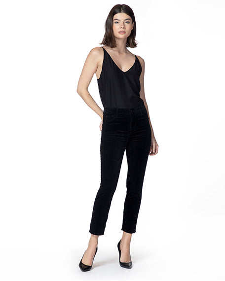 Ruby High-Rise Velvet Cigarette Pant | Black