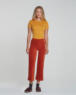 Alex Wide Leg Crop Corduroy Pant | Rust