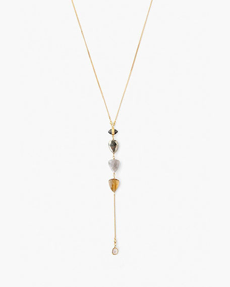 Tiered Whiskey Quartz Mix Y Necklace