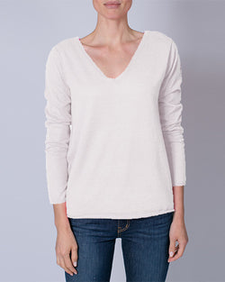 Cashmere Long Sleeve V Neck | Gris Chine
