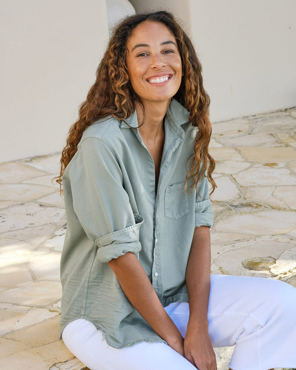 Eileen Famous Denim Button Down | Sage