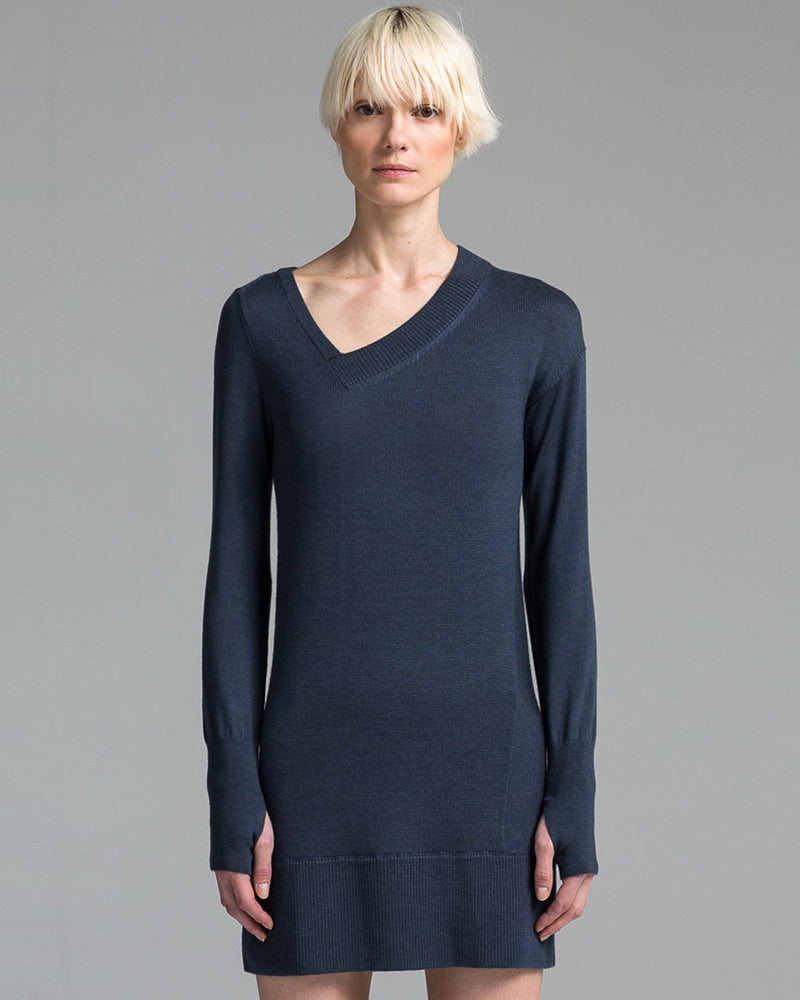 V Neck Dress | Deep Steel Blue