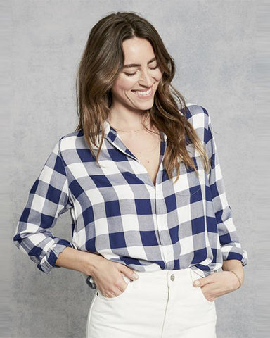 Eileen Modal Button Down Top | Large Navy Check