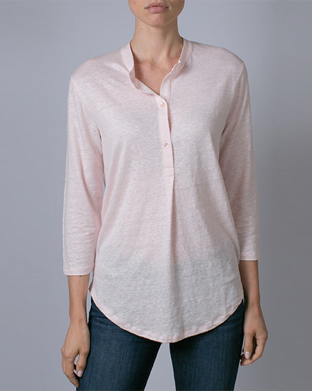 Linen & Elastane 3/4 Sleeve Button-Down