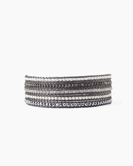 Wrap Bracelet With Semi Precious Stones | Grey Mix