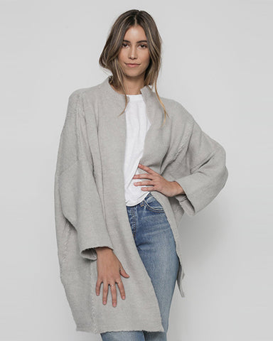 Stitch Alpaca Cardigan | Light Grey