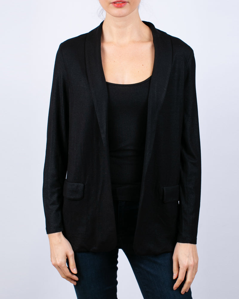 Metallic Open Blazer | Black