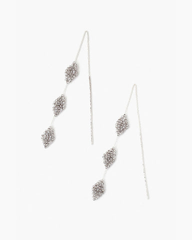 Sterling Silver Earrings With Crystals | Satin