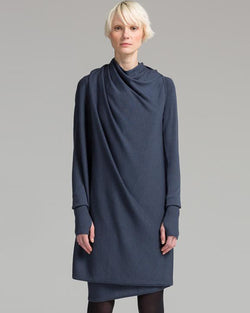 Long Sleeve Convertible Snap Wrap Dress | Steel Blue