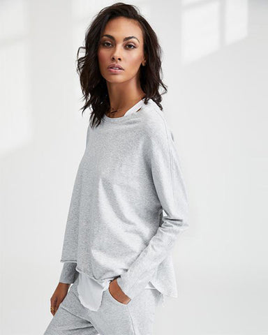 Oversized Continuous Sleeve Sweatshirt | Gray Melange