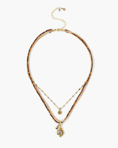 Multi Strand Necklace With Gold Charms | Tiger's Eye