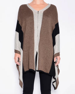 Powell Cashmere Cotton Zip Poncho | Tobacco Mix