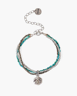 Multi Strand Bracelet With Silver Coin | Turquoise Mix