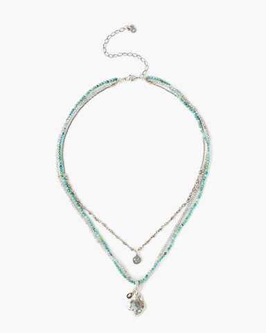 Multi Strand Necklace With Silver Charms | Turquoise