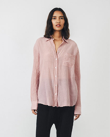 Silk Cotton Voile Shirt | Rose