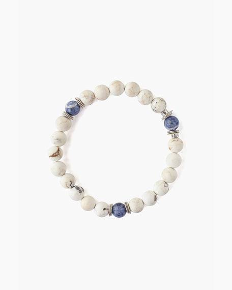 Semiprecious Stone Stretch Bracelet | White Mix