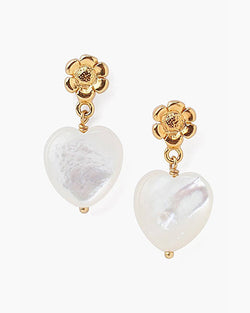 Tiered Flower & White Mother Of Pearl Heart Earrings