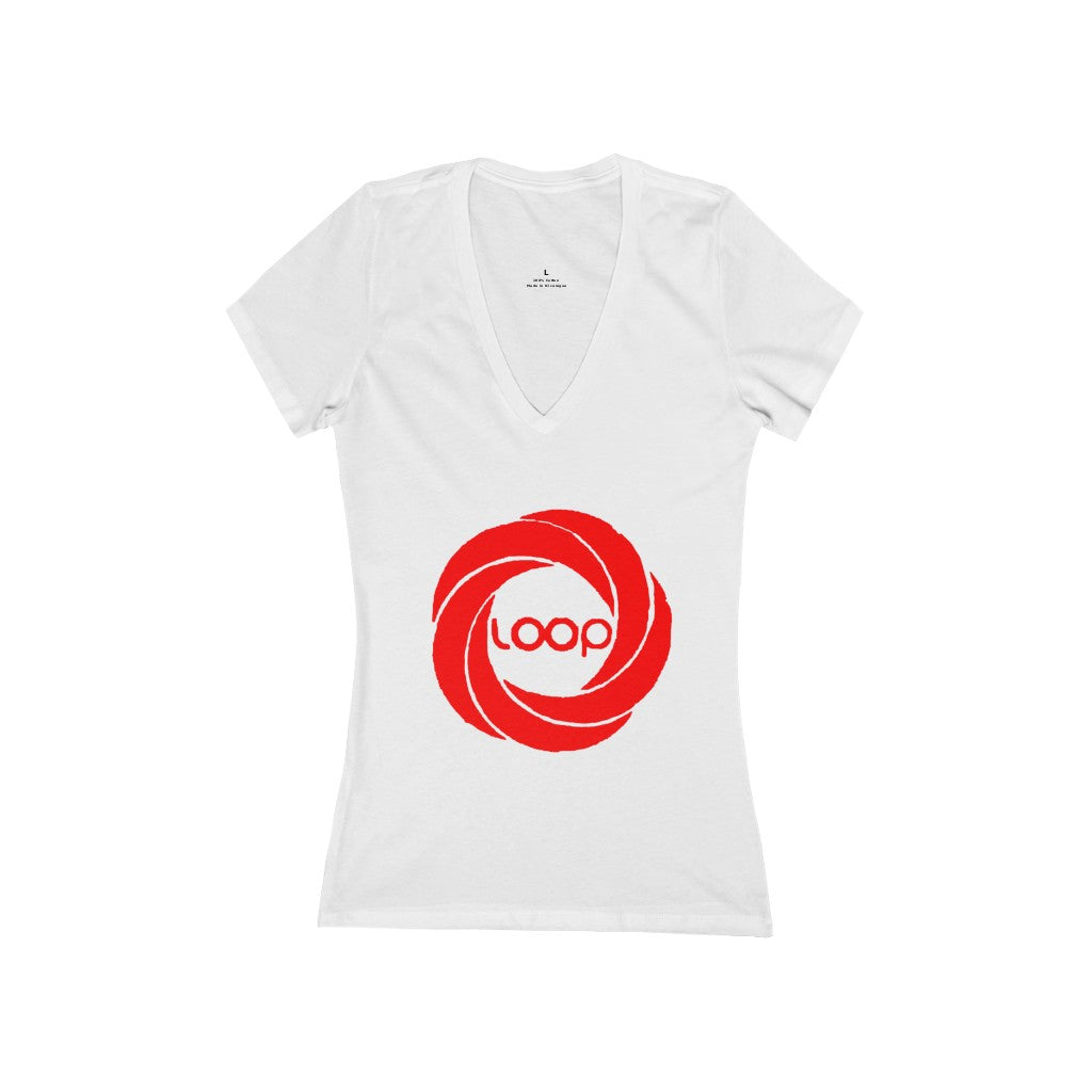Loop Women's Jersey Short Sleeve Deep V-Neck Tee