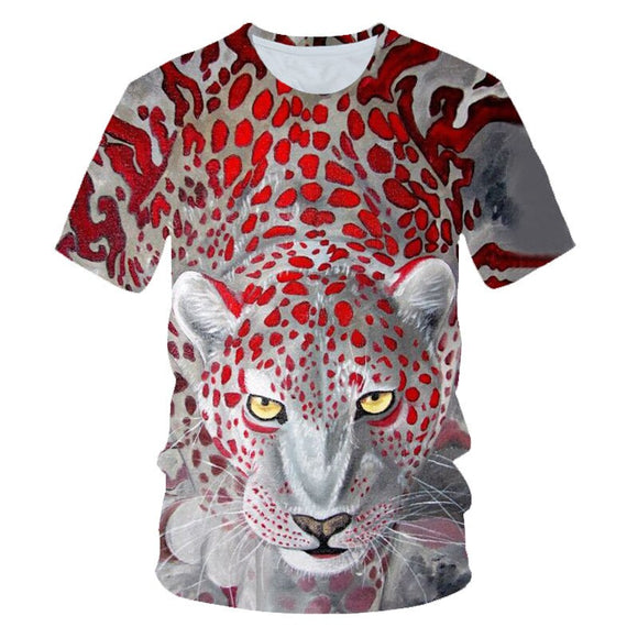 3D Print Red leopard streetwear T shirt Men Short Sleeve Unisex