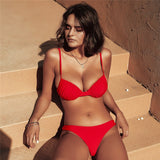 2020 Red Bikini Set Swimwear Women Two Piece Bikini