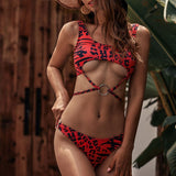 Red Leopard Bikini Set Low Waist Swimwear Women Swimsuit
