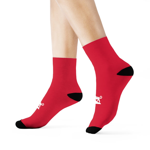 Red Leopard Crew Socks