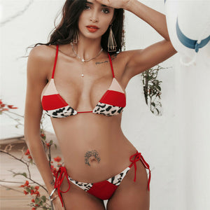 Red Leopard Patchwork Low Waist Swimsuit Padded Bra Bikini Set