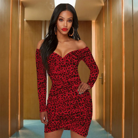 Red Leopard Print Off Shoulder Dress