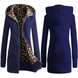 Autumn Winter Fashion Women Warm Hooded Leopard Print Jacket Long Coat