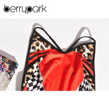 Red Leopard Plaid Print Fashion Strap Mini Dress Women Slim Sleeveless Backless Bodycon Summer Dress