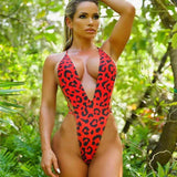 Red Leopard Print Backless Ladies Swimwear