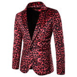 Men's Red Leopard Print Nightclub Suit Jacket