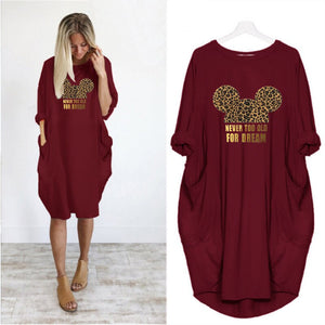 Dress Women  Printing Pocket Loose Dresses Vintage Red Leopard Dress