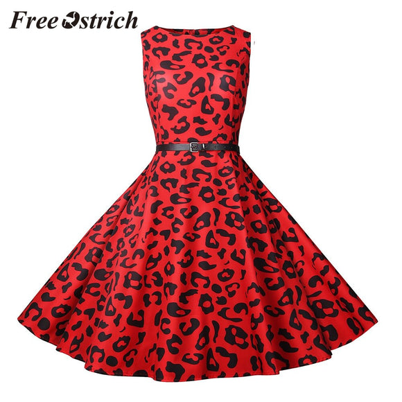 Women  Sleeveless Neck Party Prom Swing Dress Chic Red Leopard