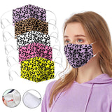 Leopard Print Two Layer(3PACK) Dust Mask, Soft Colorful Leopard Print Face Mask Cover Mouth for Adults and Teens