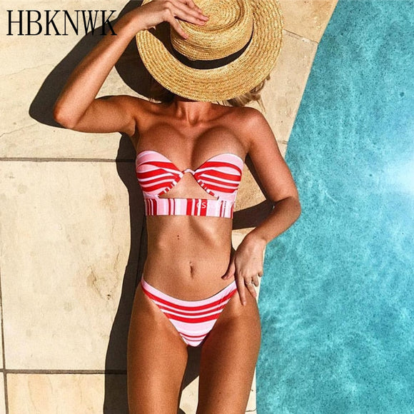 Red Striped Tube Top Bikini Set