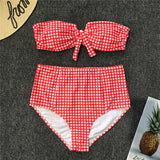 Red plaid Bikini Swimwear Women Swimsuit