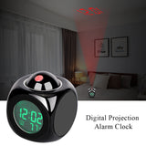 Smart Alarm Clock LCD Display Digital Projection Voice Alarm Clock Support Backlight Snooze Function Cube LED Desk Clock Display Time Thermometer