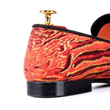 Red Leopard Printed Men Dress Shoes