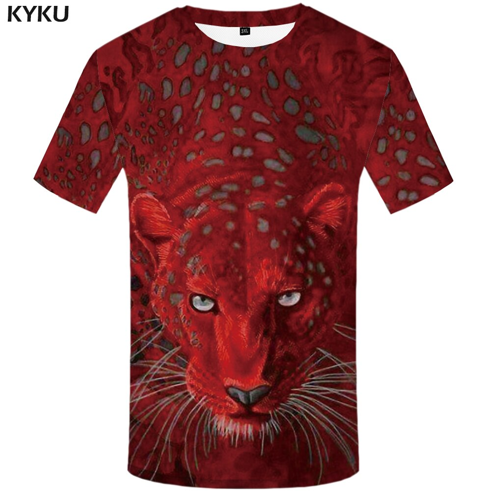 Red Leopard Printed T shirt