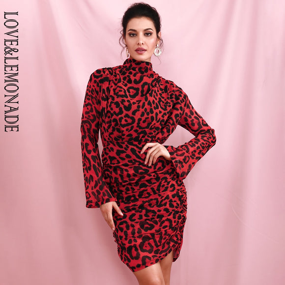 High Collar Loose Upper Body Pleated Decoration Red Leopard Chiffon  Party Dress