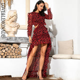 Sexy Cut Out Open Back Red Leopard Long Sleeve Chiffon Dress